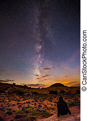 Girl Sitting on the rock looking at the Milky Way -...