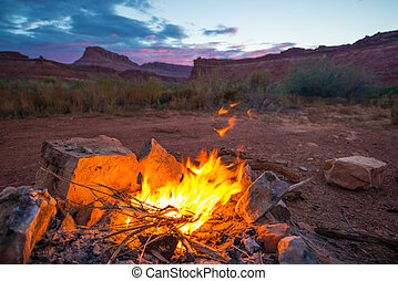 Bonfire after Sunset Camping in Utah - Natural bonfire on...