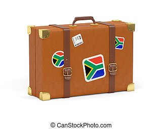 Suitcase with flag of south africa - Travel suitcase with...