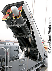 Missile launcher in a decomissioned boat