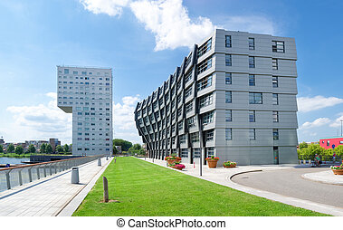 modern apartments - exterior of modern apartments in almere,...
