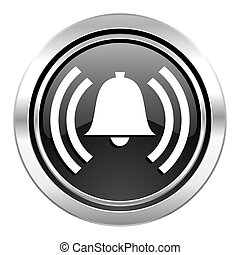 alarm icon, black chrome button, alert sign, bell symbol