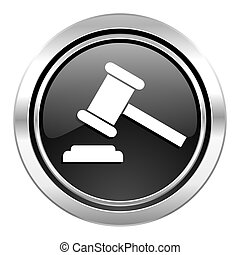 auction icon, black chrome button, court sign, verdict...