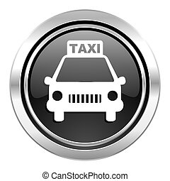 taxi icon, black chrome button