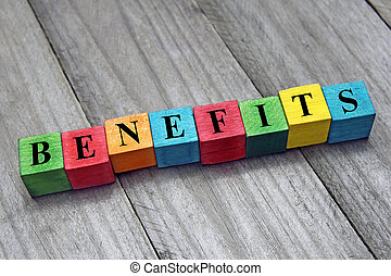 concept of benefits word on wooden colorful cubes