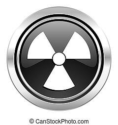 radiation icon, black chrome button, atom sign