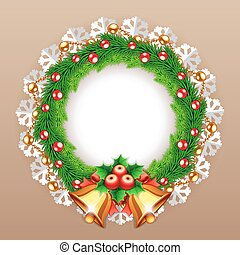 Christmas Wreath with Bells. Clipping paths included in...