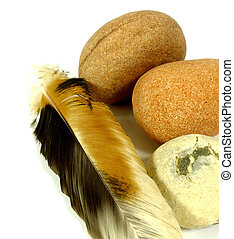 naturals - brown stones with feather to white reason