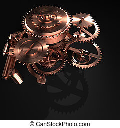 3d gear - 3d rendering of Machine Gear abstraction