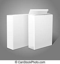 Two realistic white blank paper packages for cornflakes,...
