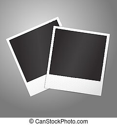 Two blank vector instant photo frames. Template for your design.