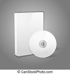 White realistic isolated DVD, CD, Blue-Ray case with disk on grey background. With place for your text and pictures. Vector