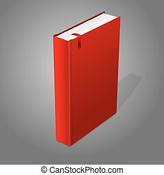 Realistic standing red blank hardcover book with bookmark....