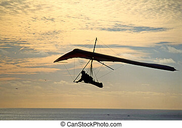 Glider flying over Pacific Ocean in California