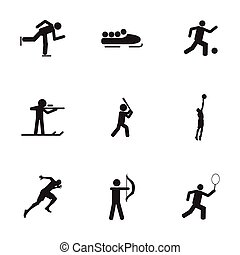 Vector black sport icons set on white background