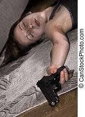 dead woman with gun