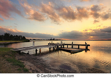 Sunset at Squids Ink Jetty, Belmont on Lake Macquarie