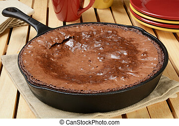 Brownies in cast iron skillet - Fresh baked brownies in a...