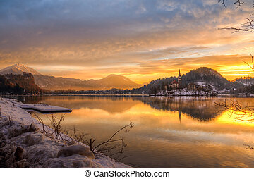 Bled with lake in winter, Slovenia, - Amazing sunrise at the...