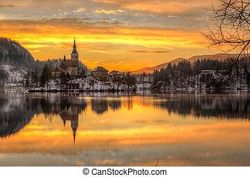 Bled with lake in winter, Slovenia, Europe - Amazing sunrise...