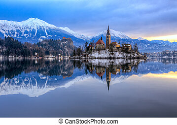Bled with lake in winter, Slovenia, Europe - Amazing sunrise...