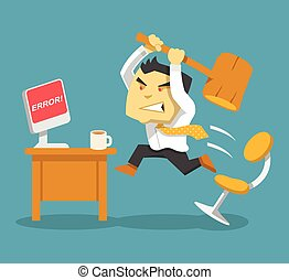 Hard work Vector flat illustration