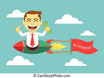 Businessman on a rocket. Vector flat illustration