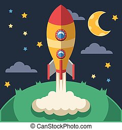 Vector rocket flat illustration