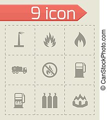 Vector natural gas icon set on grey background