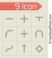 Vector road elements icon set