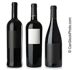 Red wine blank bottles - Three merged photographs of...
