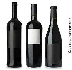 vermelho, vinho, em branco, garrafas