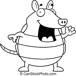 Armadillo Waving - A happy cartoon armadillo waving and...