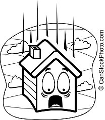 Falling House - A cartoon house falling and scared