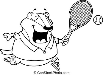 Cartoon Badger Tennis - A cartoon illustration of a badger...