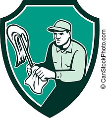 Janitor Cleaner Holding Mop Cloth Shield Retro