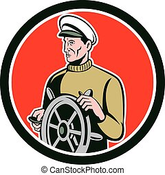 Fisherman Sea Captain Wheel Circle Retro - Illustration of a...