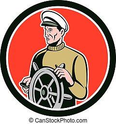 pescador, mar, capitán, rueda, círculo, Retro,...