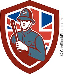 British Bobby Policeman Truncheon Flag Shield Retro -...
