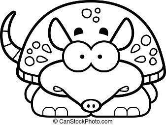 Nervous Little Armadillo - A cartoon illustration of a...