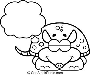 Dreaming Little Armadillo - A cartoon illustration of a...
