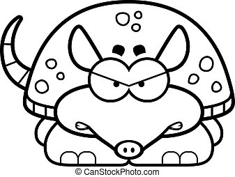 Angry Little Armadillo - A cartoon illustration of a little...