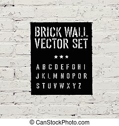Brick traced texture, stencil alphabet and grunge rectangle...