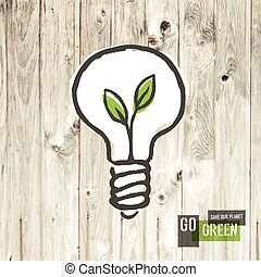 Green eco energy concept, plant growing inside the light bulb, o