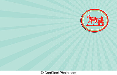 Business card Horse and Jockey Harness Racing Rosette Retro