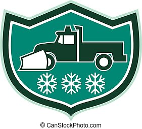 Snow Plow Truck Snowflakes Shield Retro - Illustration of a...