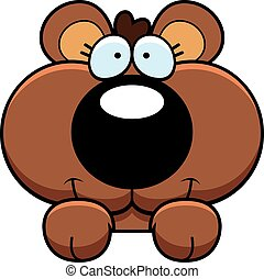 Cartoon Bear Cub Peeking - A cartoon illustration of a bear...