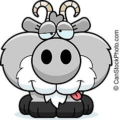 Cartoon Goofy Goat - A cartoon illustration of a goat with a...