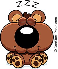 Cartoon Bear Cub Hibernating - A cartoon illustration of a...
