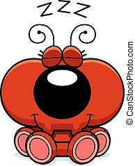 Cartoon Ant Napping - A cartoon illustration of a little ant...